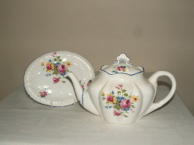 Shelley Art Deco Dainty Handpainted Rose Bouquets Tea-Pot & Stand Truly Stunning