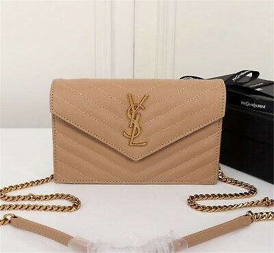 260afaec9972 AUTHENTIC YSL Saint Laurent Monogram Wallet Chain Bag Shoulder Bag beige  leather