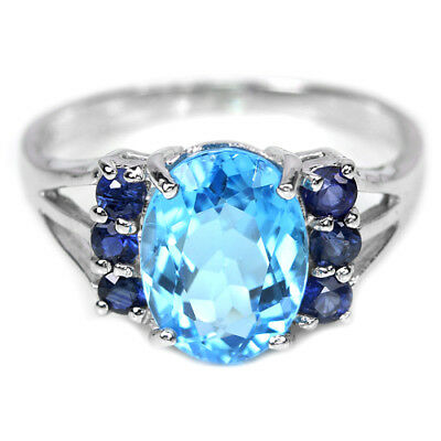 Genuine Swiss Blue Topaz Oval Round & Sapphire Sterling 925 Silver Ring 5.25