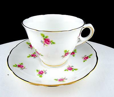 """Royal Kent Staffordshire England Pink Rose And Gold 2 3/4"""" Cup And Saucer Set"""