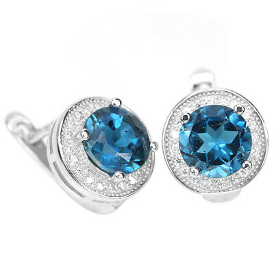 Genuine Aaa London Blue Topaz Round & White Cz Sterling 925 Silver Earring