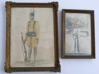 19Th Century Original Photograph Of An African Soldier And A Painting Of Same