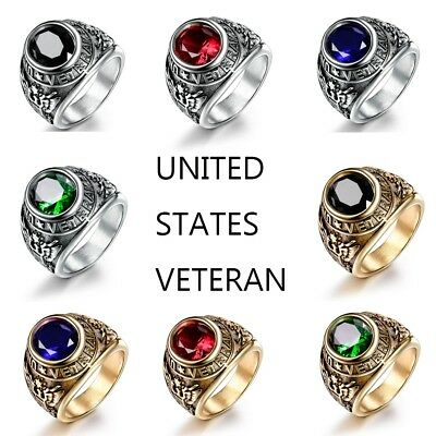Fashion Vintage Mens 316L Stainless Steel Veteran Military Ring Jewelry #8-15 US