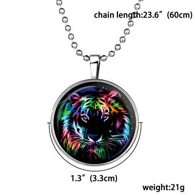 Magical Women Fairy Cool Tiger Glow in the Dark Stainless Steel Pendant Necklace
