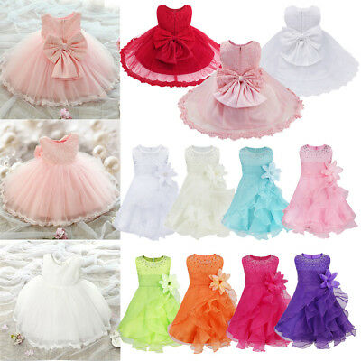 UK Baby Girls Flower Party Princess Birthday Wedding Christening Formal Dresses