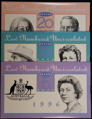 Low Numbered Uncirculated DELUXE Banknote Set of $5, $10 and $20 Missing $50