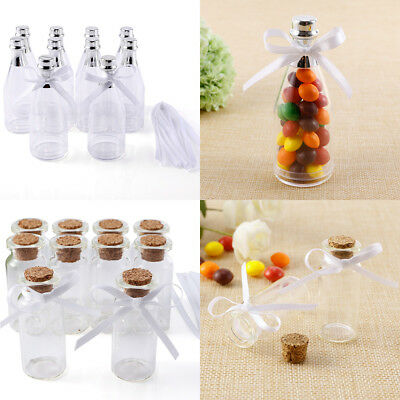 10x Plastic Bow Clear Fillable Champagne Bottles Wedding Favors Birthday Party