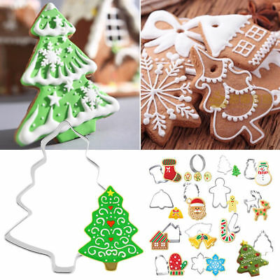 Set of 14 Christmas Cookie Cutter Snow Star Tree Bell Candy Biscuit Decor Pastry