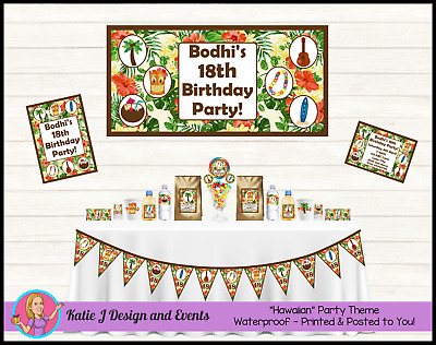 * Personalised Surf HAWAIIAN BIRTHDAY Party Decorations Supplies Beach Party *