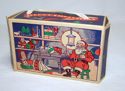 Vintage 1960s SANTA'S WORKSHOP Gift Box w/Handle