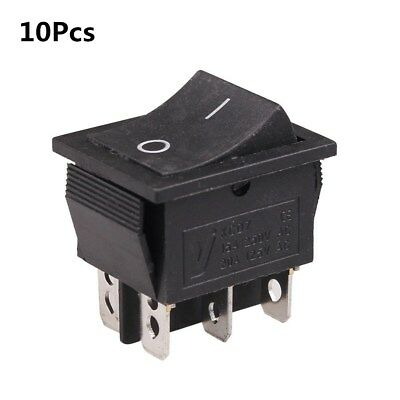 10Pcs DPDT 6-Pin Rocker Switch KCD7 2 position ON/ON AC 250V 15A /125V 20A