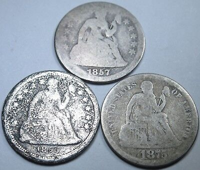 Lot of 3 US Seated Liberty Dime 10 Cent Antique U.S. Silver Currency Money Coin