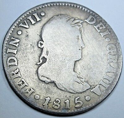 1815 Spanish Silver 2 Reales Piece of 8 Real Old Colonial Two Bits Pirate Coin