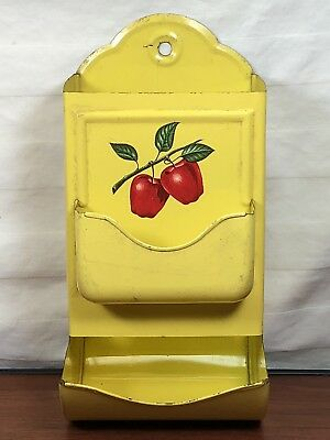 Old Antique PA. Farm House Vintage Primitive Wall Mounted Apples Tin Match Safe