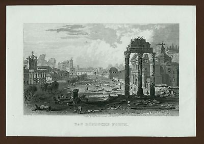 Roma, Forum, Stahlstich steel engraving ca. 1870