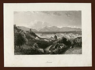 Torino, Turin, Stahlstich steel engraving ca. 1870