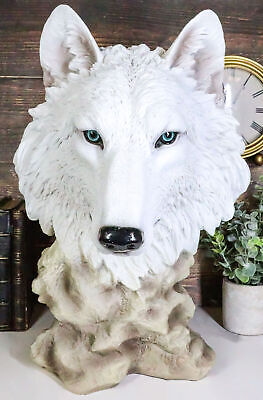 """Large Ghost Albino Arctic Snow White Wolf Head Bust Desk Plaque Statue 16.5""""Tall"""