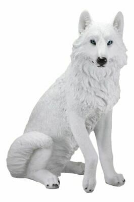 "Large Artemis Wildlife Sitting Albino Ghost Snow White Wolf Statue 20.5"" Tall"