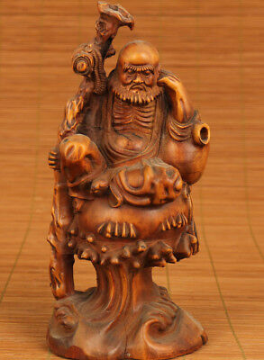 antique Chinese Old big boxwood Hand-Carved buddha Bodhidharma Statue
