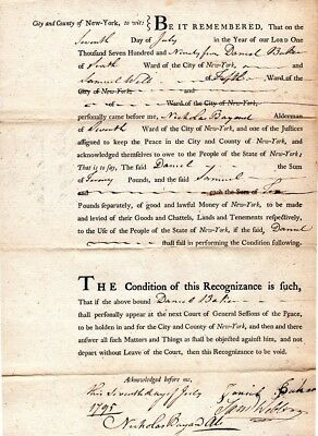 1795, Nicholas Bayard, New York, signed recognizance bond, must appear in court