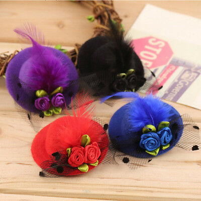 Rose Flower Feather Kids Girls Hair Clip Brooch Mini Hair Clip Party Wear CB