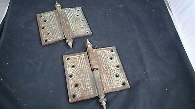 Pair Set of 2 Antique Ornate Embossed  6 X 7 HD Steel Door Hinges Dated 1871