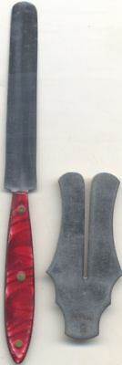 Antique Red Handle Jewish Circumcision Knife + Shield unmarked J & D Miller ?