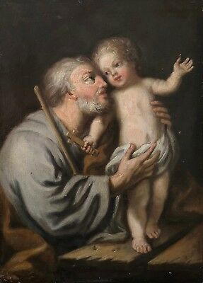 St Joseph with Child Old Master Oil Painting follower of Guido Reni (1575-1642)