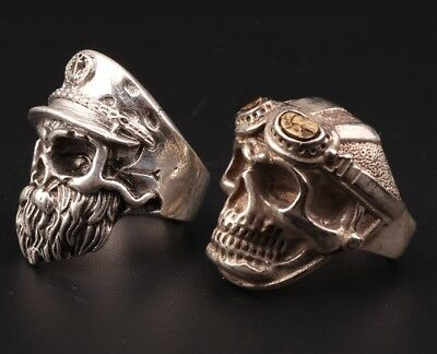 2 Vintage Tibetan Silver Ring Statue Old Skull Exorcist Mascot Collection