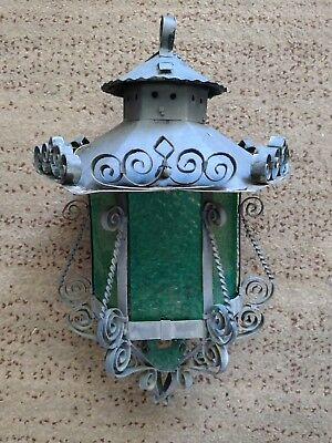 Vtg. Wrought Iron/green Stained Glass Rustic Outdoor Garden Hanging Lantern