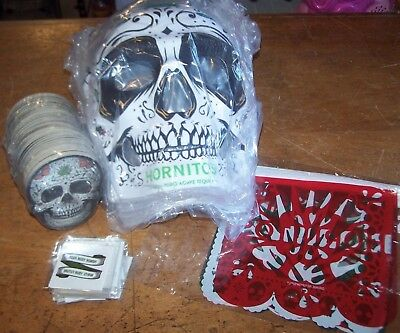 Lot of 8 NEW Hornitos Tequila Day of the Dead Masks 125 Coasters Tattoos Banner