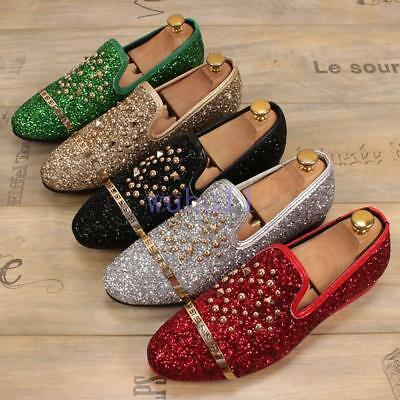 Men's Chic Slip On Rivets Sequins Shiny Party Wedding Shoes Driving Shoes Loafer