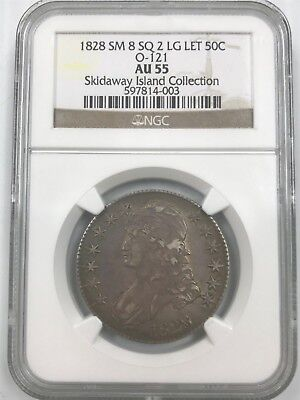 1828 Bust Half Dollar 50C Sm 8 SQ 2 LG Let O-121 NGC AU55 Skidaway Collection T4