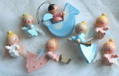 7Pc Vintage IRMI Painted Wood ANGEL ORNAMENTS Christmas Easter Decorations