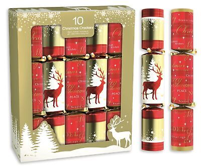 "10 x 12"" Traditional Nordic Reindeer Red & Gold Christmas Crackers Decoration"