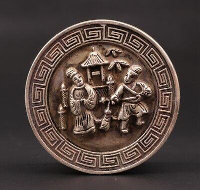 Old Collection Chinese Copper Handmade Poet Statue Jewel Seal Stamp Box