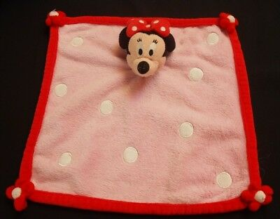 Doudou Minnie DISNEY Plat Carré Rose Pois Blancs NEUF