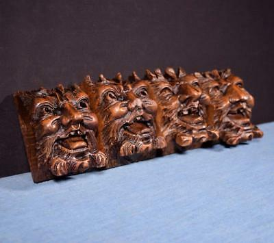*Set of 4 French Antique Gothic Revival Gargoyles Walnut Wood Trim w/Faces