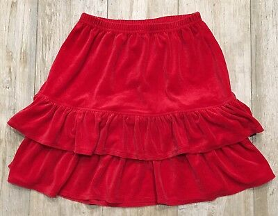 Nice Girls Hanna Andersson Red Velour Holiday Ruffled Tiered Skirt 150 12 14 Euc