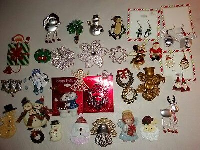 Lot of 33 Christmas Jewelry Brooches Earrings Pins  New & VINTAGE