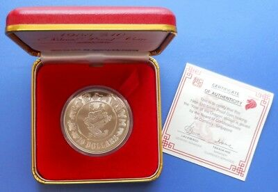 1988 Singapore Lunar Year Of Dragon..$10...50% Silver...proof...box/coa #00046