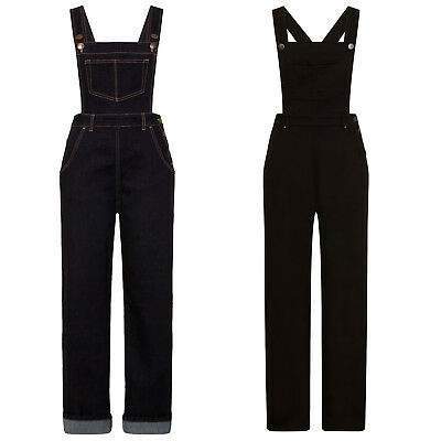 Hell Bunny Elly May Indigo Black Denim 1950s Rockabilly Dungarees Jeans Overalls