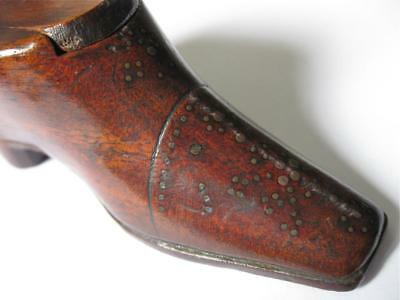 Fine Antique 1800's Treen Novelty Shoe / Boot Carved & Inlaid Snuff Box  NR