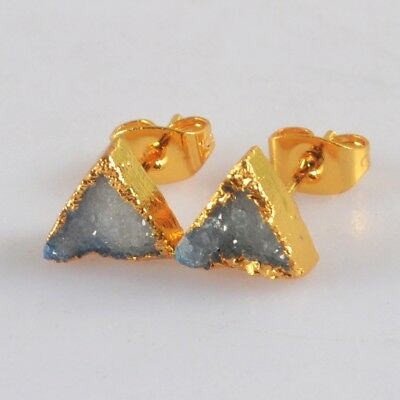 8mm Triangle Blue Agate Druzy Geode Stud Earrings Gold Plated T068625