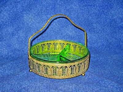 Art Glass Green Depression Glass Candy Serving Dish Solid Brass Frame Pat.