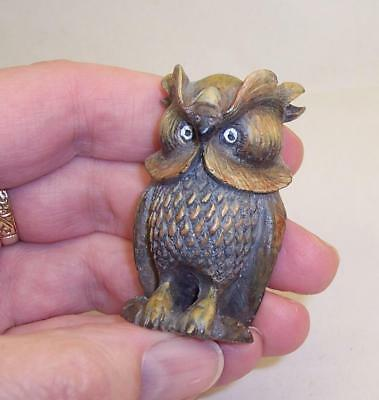 RARE Vintage COLD PAINTED BRONZE Metal WISE OLD OWL Archimedes MINIATURE