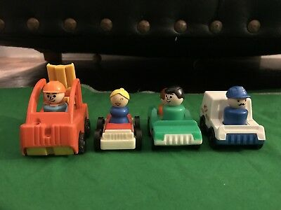 4 Vintage Fisher Price Little People cars and Figures