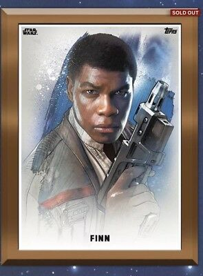 Topps Star Wars Card Trader - Finn -   Sold Out Bronze Guilded Insert. 1/3