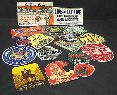 Lot #4 16 Motoring Decals Stickers Travel Gasoline National Park Tourist ca 1938