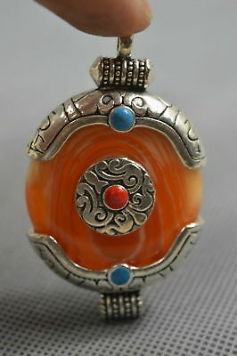 Collectable Handwork Old Miao Silver Tibetan Totem Inlay Amber Fashion Pendant